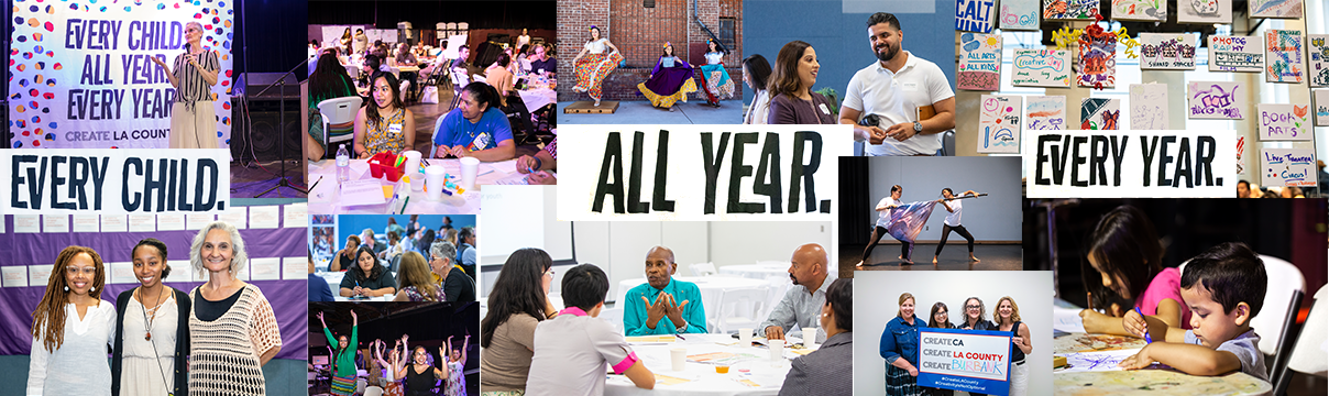 collage of photos from the 2019 community forums for arts education